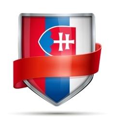 Shield with flag slovakia and ribbon vector