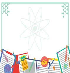 Chemistry atom picture and note frame design vector