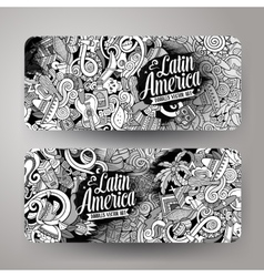 Cartoon hand-drawn doodles Latin American banners vector image