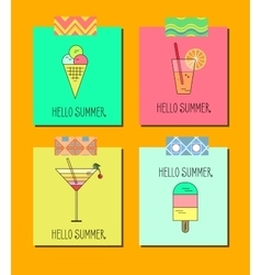 Set of bright summer cards vector