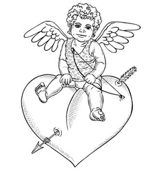 Angel sitting on heart vector