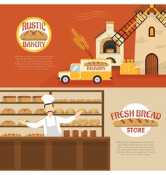 Bakery horizontal banners vector
