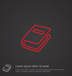 Book outline symbol red on dark background logo vector