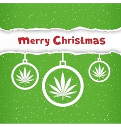 Christmas cannabis hemp congratulation vector image