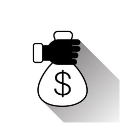 hand holding money bag with dollar sign silhouette vector image vector image