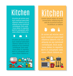 Kitchen flyers in cartoon style vector