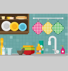 kitchen sink flat vector image vector image