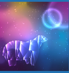 Low poly crystal polar bear space background with vector