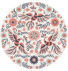 Mexican embroidery round pattern vector