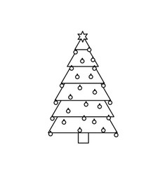 Monochrome silhouette of christmas tree with trunk vector