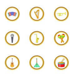 Music instrument icons set cartoon style vector