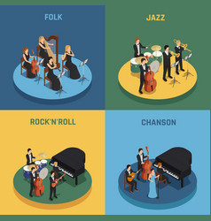orchestra isometric 2x2 concept vector image