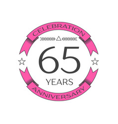 Realistic sixty five years anniversary celebration vector