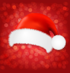 red background with santa claus cap vector image vector image