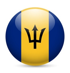 Round glossy icon of barbados vector