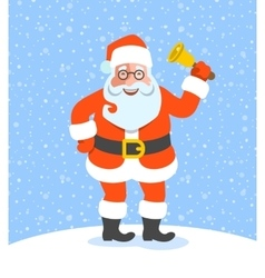 Santa claus ringing jingle bell cartoon character vector