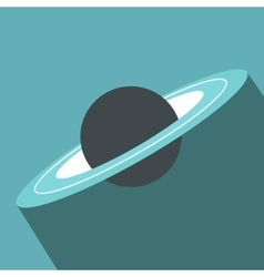 Saturn flat icon with shadow vector