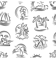 seamless pattern with tropical landscape vector image