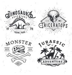 Set of dino logos t-rex skull t-shirt vector