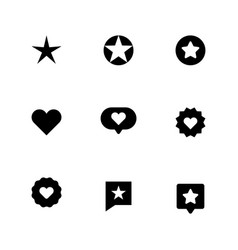 set of heart and star icon symbols of favorite vector image vector image