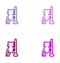 Set of paper stickers on white background cat vector