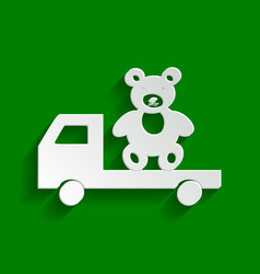 Truck with bear paper whitish icon with vector