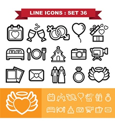 Wedding line icons set 36 vector