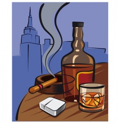 whiskey and cigar vector image vector image