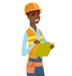 Young african building inspector with clipboard vector