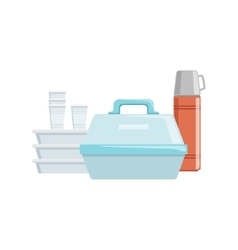 Plastic Containers And Water Thermos Set Of vector image