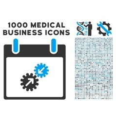 Gears integration calendar day icon with 1000 vector