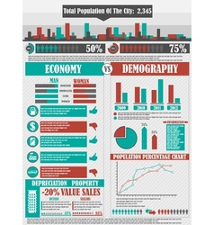 Infographics city red vector