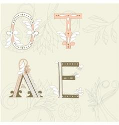 letters o t a e vector image