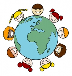 Children and earth vector