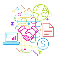 Symbols of business meetings and cooperation on vector