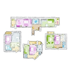 Set of interior apartment sketch for your design vector