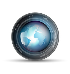 Camera lens with planet earth inside vector