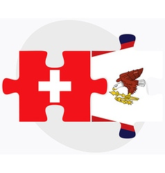 Switzerland and american samoa flags vector