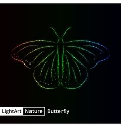 Butterfly silhouette of lights on black background vector