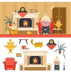 Set of house living room interior objects vector