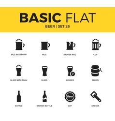 Basic set of beer icons vector image
