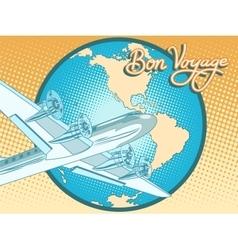 Bon voyage abstract retro plane poster vector