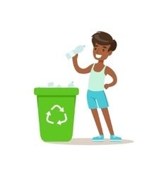 Boy throwing recycle plastic botlles in trash bin vector
