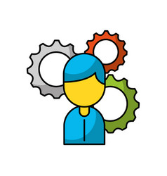 businessman avatar with gears vector image