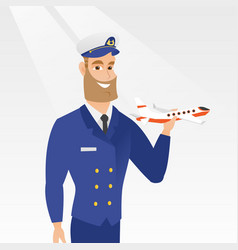 Cheerful airline pilot with the model of airplane vector