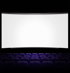 Cinema hall with white screen and blue row chairs vector