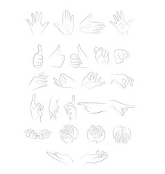 different positions of the hands vector image