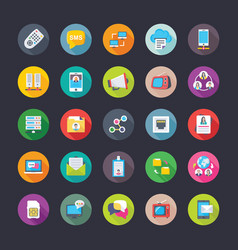 digital network and communications flat icons set vector image vector image