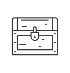 Dower chest line icon sign vector