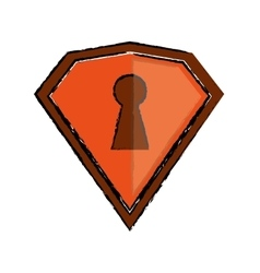 Drawing orange shield protection security vector